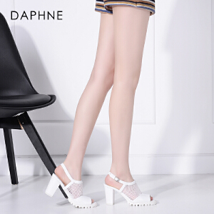 Daphne/达芙妮春夏季新款 时尚网面粗高跟鱼嘴休闲百搭女凉鞋