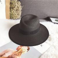 夏天大帽檐m草帽礼帽女士夏季韩版太阳帽沙滩遮阳白色爵士帽子潮 可调节