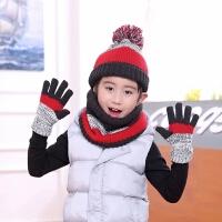 男童冬加绒保暖毛线帽子围脖套装中童大童儿童帽子围脖手套三件套