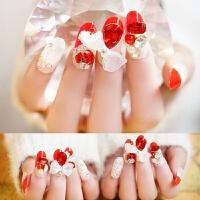 新娘美甲成品 皇冠蝴蝶结闪钻假指甲贴片甲片 手指甲片婚纱拍照