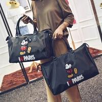 新款米奇短途旅行包单肩斜挎手提包亮片学生行李袋健身包运动包 黑色