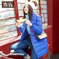 森宿Z雪国冬装女士新款文艺印花中性直筒长袖小立领羽绒服女长款