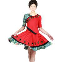 女士广场舞服装 中袖孔雀印花跳舞服装 春秋季套装瑜伽舞蹈服上衣裙子演出服