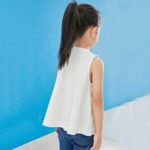 【下单立享5折】amii童装2017夏款女童纯色背心A字版型宽松上衣百搭简约无袖t恤