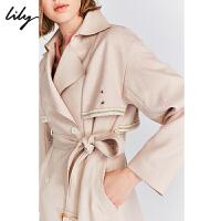 【2件3折 折后价:329】LILY春款女装气质浅粉腰带收腰修身中长款风衣外套1910