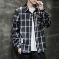 【新品89.9元】唐狮文艺复古格子衬衫男秋季黑色宽松长袖外套系韩版衬衣潮