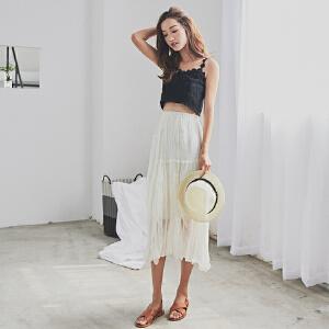 RANJU 然聚2018女装夏季新品新款韩版文艺拼接乱折半身裙长裙