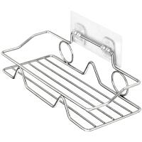 不锈钢收纳架浴室卫生间置物架厨房调味品免打孔粘贴壁挂式挂架子 1层