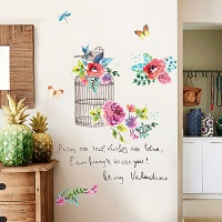 客厅沙发背景墙壁上卧室房间装饰自粘墙纸贴画美式田园花卉墙贴