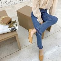七格格高腰牛仔裤女显瘦显高2020年春季新款韩版宽松九分直筒裤子
