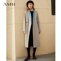 【折后价:784元/再叠券】Amii时髦气质纯羊毛撞色双面呢女大码秋冬新款宽松收腰呢子外套潮