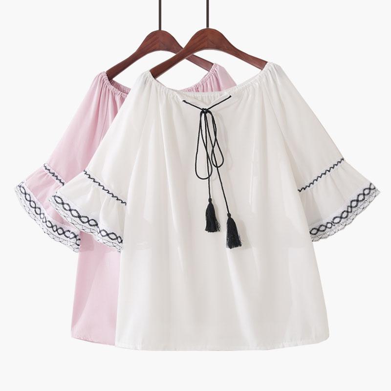 2018夏季新款韩版喇叭短袖流苏系带雪纺衫娃娃衫甜美复古衬衫