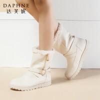 Daphne/达芙妮专柜正品女靴冬加厚加绒时尚圆头平底女雪地靴短靴