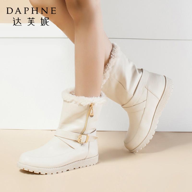 Daphne/达芙妮专柜正品女靴冬加厚加绒时尚圆头平底女雪地靴短靴年末清仓,售罄不补货!