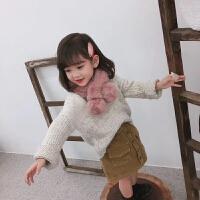 韩版儿童围巾仿兔毛男女童宝宝围巾冬婴儿围脖冬季百搭保暖亲子