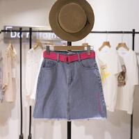 春季新款简洁纯色侧边字母活力龄配同色糖果色腰带牛仔半身裙1312