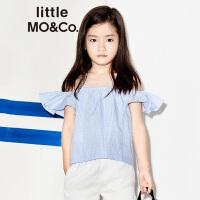 【折后价:131.6】littlemoco女童蓝白条纹荷叶边吊带露肩上衣KA172TOP114
