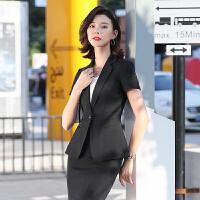 夏季时尚气质商务正装职业装工作服女韩版大学生面试短袖西装套装