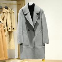双面呢大衣女冬装新款 韩版翻领中长款纯色百搭毛呢外套