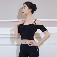 瑜伽服女短袖带胸垫舞蹈上衣弹力速干专业瑜珈性感