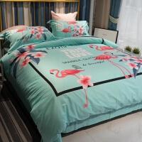 ins网红床单四件套春夏季棉简约绿色粉色床上用品