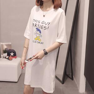 新款夏季女装上衣韩版宽松中长款t恤短袖女休闲t恤衫
