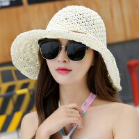 沙滩帽子女夏天海边遮阳帽太阳帽渔夫帽出游大沿草帽可折叠
