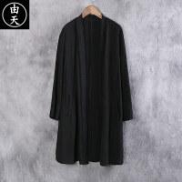 中国风棉麻风衣男士中长款薄款亚麻男装上衣秋季宽松开衫披风外套 黑色