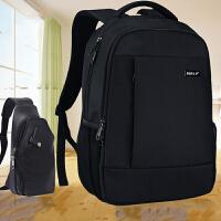 双肩包男背包休闲女中学生书包男士电脑包旅游旅行包djy 黑色标准版+胸包+送防雨罩