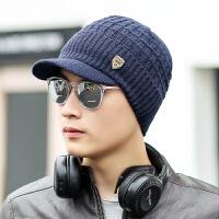 帽子男冬天韩版潮时尚青年毛线帽冬季男士户外保暖鸭舌针织帽护耳