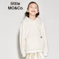 littlemoco女童卫衣春秋圈圈绒星星图案休闲连帽保暖上衣