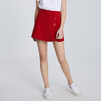 活动到手价63丨红袖/HOPESHOW纯色两粒扣中腰A字短裤