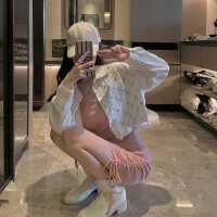 牛仔外套女春秋2021年新款气质韩版宽松菱形格毛边短款开衫上衣潮