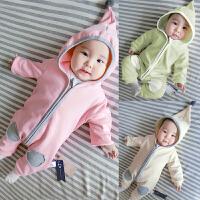 婴儿连体衣服春秋款爬爬服0岁7个月新生儿春装可爱哈衣外出服宝宝