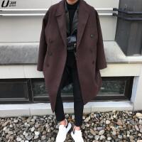 韩版秋冬新款毛呢大衣男士中长款宽松大码双排扣羊绒外套加厚 (加棉款)