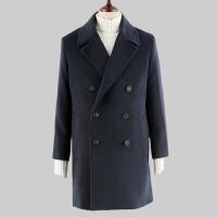 韩版秋冬新款毛呢大衣男士双排扣大翻领加棉加厚羊绒外套风衣