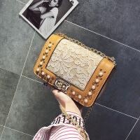 七夕礼物潮流女包2018新款时尚单肩斜跨手提包锁扣休闲包小香风珍珠链条包