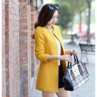 初冬毛呢外套新款韩版大码女装中长款呢大衣冬装女式开衫风衣