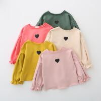 春秋款女童泡泡袖上衣韩版儿童宝宝灯笼袖长袖t恤小童时尚小衫