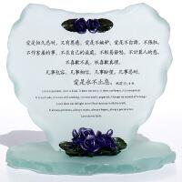 基督教结婚礼品 基督徒礼物 福音饰品玻璃摆件 爱是永不止息 图片色