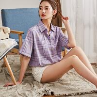 【1件2.5折59.22元】唐狮新款年夏格子衬衫女设计感小众洋气衬衣紫色百搭短袖上衣A