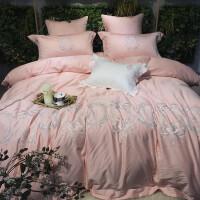 法式女神款80s粉色刺绣结婚四件套蕾丝绣花婚庆床上用品 曼尼沙 粉七件套