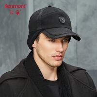 卡蒙加厚棒球帽纯黑色休闲时尚毛呢帽男士棉帽子秋冬天防风护耳帽 2657