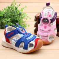 夏季宝宝机能凉鞋包头软底沙滩鞋男女童幼儿学步鞋1-2-3岁运动鞋