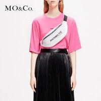 MOCO2019春季新品荧光色字母标语印花T恤MAI1TEE026 摩安珂