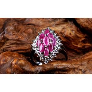 (附鉴定证书)925银嵌红宝石戒指