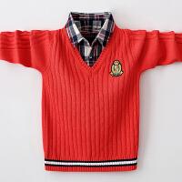 男童毛衣儿童假两件针织衫男孩中大童秋冬款套打底衫