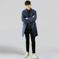 冬季新款韩版毛呢大衣男中长款休闲羊毛呢子大衣男士学生羊绒外套 (加棉)