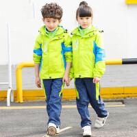 男女童冲锋衣套装中小学生校服 三件套儿童班服户外运动服