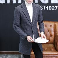 男士风衣新款秋冬季中长款大衣男韩版潮流修身帅气毛呢子外套